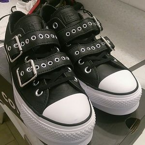 d2ea64237b5f5d Converse Shoes - Converse Chuck Taylor Buckle Leather Lifts (NEW)